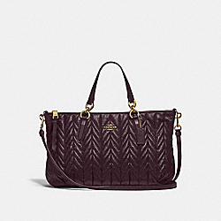 ALLY SATCHEL WITH QUILTING - F31460 - OXBLOOD 1/LIGHT GOLD