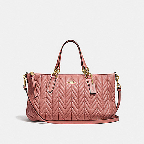 COACH F31460 ALLY SATCHEL WITH QUILTING MELON/LIGHT-GOLD