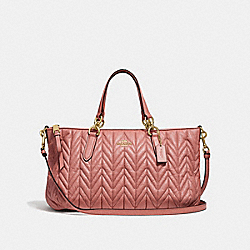 ALLY SATCHEL WITH QUILTING - F31460 - MELON/LIGHT GOLD