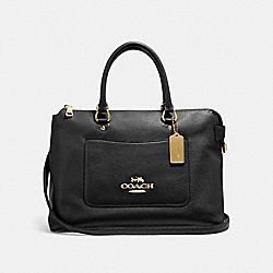 COACH F31467 Emma Satchel BLACK/LIGHT GOLD