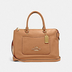 EMMA SATCHEL - F31467 - LIGHT SADDLE/IMITATION GOLD