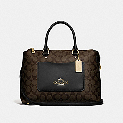 EMMA SATCHEL IN SIGNATURE CANVAS - F31468 - BROWN/BLACK/IMITATION GOLD