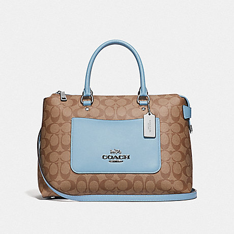 COACH F31468 EMMA SATCHEL IN SIGNATURE CANVAS KHAKI/CORNFLOWER/SILVER