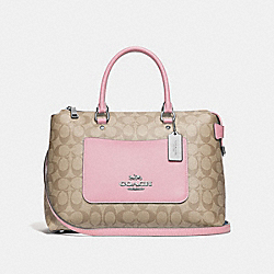 EMMA SATCHEL IN SIGNATURE CANVAS - F31468 - LIGHT KHAKI/CARNATION/SILVER