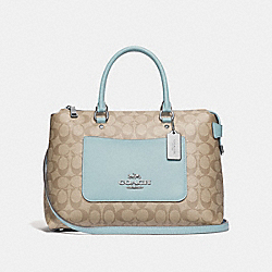 EMMA SATCHEL IN SIGNATURE CANVAS - F31468 - LIGHT KHAKI/SEAFOAM/SILVER