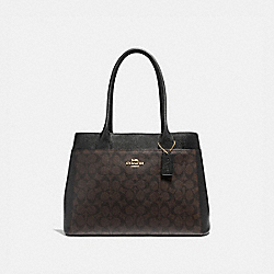 CASEY TOTE IN SIGNATURE CANVAS - f31475 - BROWN/BLACK/LIGHT GOLD