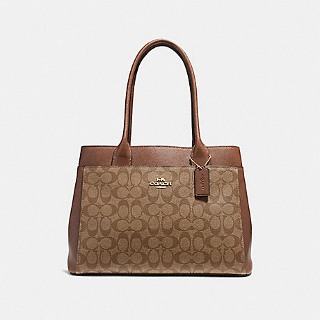 COACH f31475 CASEY TOTE IN SIGNATURE CANVAS KHAKI/SADDLE 2/IMITATION GOLD