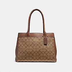 CASEY TOTE IN SIGNATURE CANVAS - f31475 - KHAKI/SADDLE 2/IMITATION GOLD