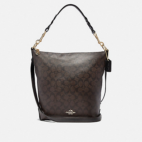 COACH F31477 ABBY DUFFLE IN SIGNATURE CANVAS BROWN/BLACK/LIGHT-GOLD