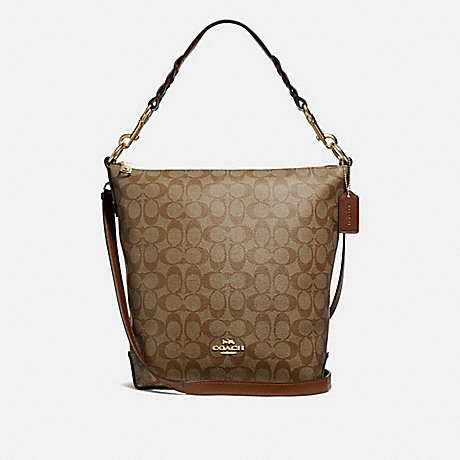 COACH F31477 ABBY DUFFLE IN SIGNATURE CANVAS KHAKI/SADDLE-2/LIGHT-GOLD