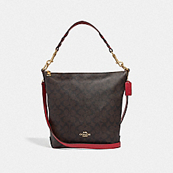 COACH F31477 - ABBY DUFFLE IN SIGNATURE CANVAS BROWN/TRUE RED/LIGHT GOLD