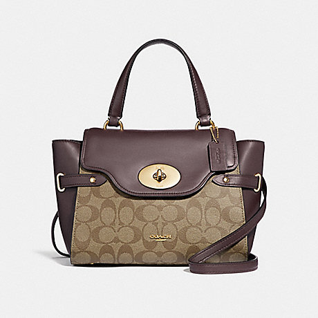 COACH F31479 BLAKE FLAP CARRYALL IN COLORBLOCK SIGNATURE CANVAS KHAKI/OXBLOOD-MULTI/LIGHT-GOLD