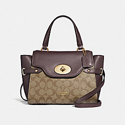 BLAKE FLAP CARRYALL IN COLORBLOCK SIGNATURE CANVAS - f31479 - khaki/oxblood multi/light gold
