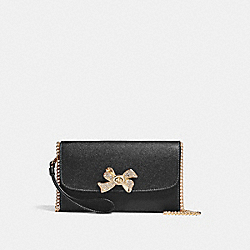CHAIN CROSSBODY WITH BOW TURNLOCK - f31480 - BLACK/IMITATION GOLD