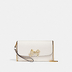CHAIN CROSSBODY WITH BOW TURNLOCK - f31480 - CHALK/IMITATION GOLD