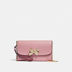 CHAIN CROSSBODY WITH BOW TURNLOCK - f31480 - Vintage Pink/Imitation Gold