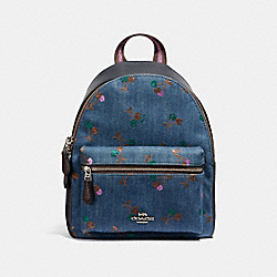 MINI CHARLIE BACKPACK WITH CHERRY PRINT - f31484 - DENIM/MULTI/SILVER