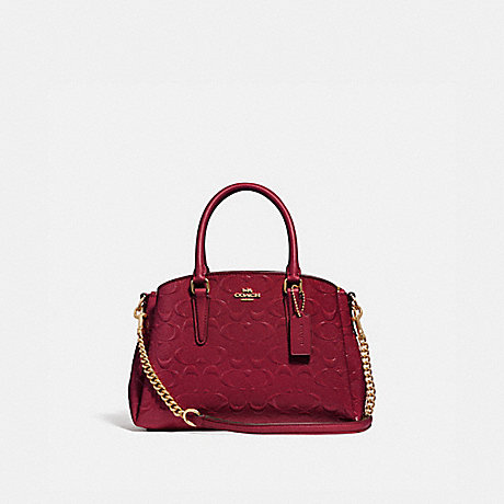 COACH F31485 MINI SAGE CARRYALL IN SIGNATURE LEATHER IM/CHERRY