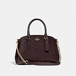 COACH F31485 - MINI SAGE CARRYALL IN SIGNATURE LEATHER OXBLOOD 1/LIGHT GOLD