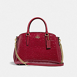 COACH F31486 - SAGE CARRYALL IN SIGNATURE LEATHER CHERRY /LIGHT GOLD