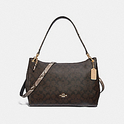 MIA SHOULDER BAG IN SIGNATURE CANVAS - F31487 - BROWN BLACK/MULTI/LIGHT GOLD