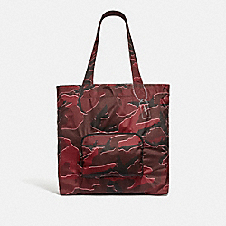 COACH F31488 Packable Tote With Wild Camo Print BURGUNDY MULTI/SILVER