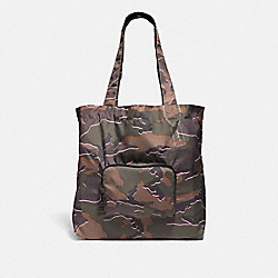 COACH F31488 Packable Tote With Wild Camo Print GREEN MULTI/SILVER