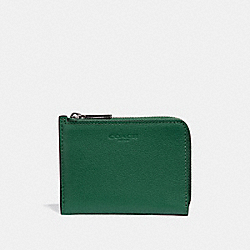COACH F31489 L-zip Wallet GREEN/BLACK ANTIQUE NICKEL