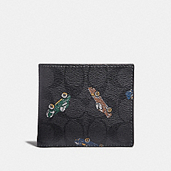COACH F31492 Double Billfold Wallet In Signature Canvas With Car Print ANTIQUE NICKEL/BLACK MULTI