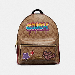 COACH F31499 Medium Charlie Backpack In Signature Canvas With Graffiti KHAKI MULTI /LIGHT GOLD