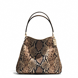 COACH F31502 Madison Python Printed Small Phoebe Shoulder Bag LIGHT GOLD/NATURAL