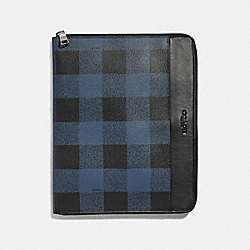 COACH F31512 Tech Case With Buffalo Check Print BLUE MULTI/BLACK ANTIQUE NICKEL