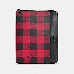 COACH F31512 Tech Case With Buffalo Check Print RED MULTI/BLACK ANTIQUE NICKEL