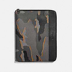 TECH CASE WITH CAMO PRINT - f31513 - ANTIQUE NICKEL/GREY MULTI