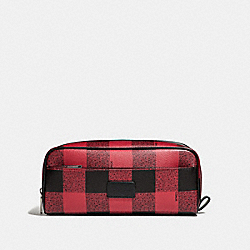 COACH F31517 Double Zip Dopp Kit With Buffalo Check Print RED MULTI/BLACK ANTIQUE NICKEL