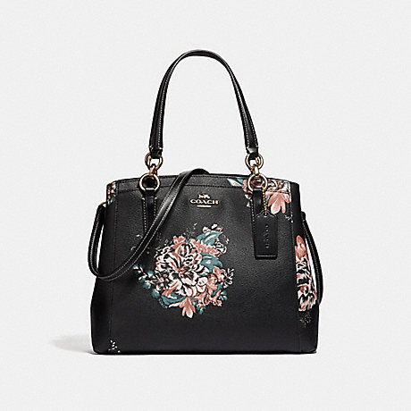 COACH F31519 MINETTA CROSSBODY WITH TOSSED BOUQUET PRINT BLACK-MULTI/LIGHT-GOLD