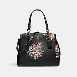 COACH F31519 Minetta Crossbody With Tossed Bouquet Print BLACK MULTI/LIGHT GOLD