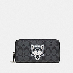 COACH F31520 Accordion Wallet In Signature Canvas With Wolf Motif BLACK/BLACK ANTIQUE NICKEL