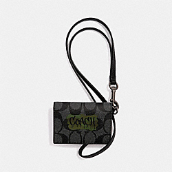 ID CARD CASE LANYARD IN SIGNATURE CANVAS WITH GRAFFITI - F31527 - CHARCOAL/BLACK/BLACK ANTIQUE NICKEL