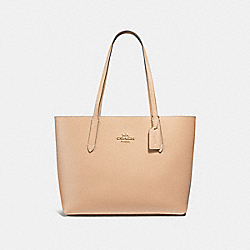 AVENUE TOTE - f31535 - beechwood/wine/light gold