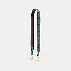 STRAP WITH FLORAL APPLIQUE - F31536 - DARK TURQUOISE/LIGHT GOLD
