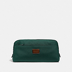 COACH F31545 Double Zip Dopp Kit RACING GREEN/BLACK ANTIQUE NICKEL