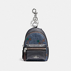 COACH F31550 - BACKPACK COIN CASE WITH CHERRY PRINT DENIM/MULTI/SILVER