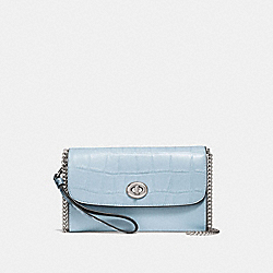 COACH F31552 Chain Crossbody SILVER/PALE BLUE