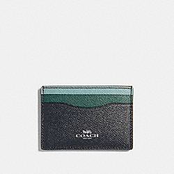 COACH F31555 Card Case In Colorblock SILVER/MIDNIGHT