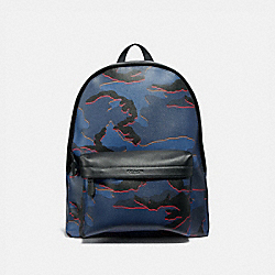 COACH F31557 Charles Backpack With Camo Print BLUE MULTI/BLACK ANTIQUE NICKEL