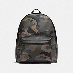COACH CHARLES BACKPACK WITH CAMO PRINT - ANTIQUE NICKEL/GREY MULTI - F31557
