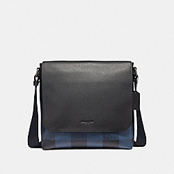 COACH F31558 Charle Small Messenger With Buffalo Check Print BLUE MULTI/BLACK ANTIQUE NICKEL