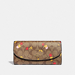 SLIM ENVELOPE WALLET IN SIGNATURE CANVAS WITH CHERRY PRINT - f31562 - KHAKI MULTI /light gold