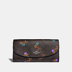 SLIM ENVELOPE WALLET IN SIGNATURE CANVAS WITH CHERRY PRINT - f31562 - BROWN MULTI/SILVER